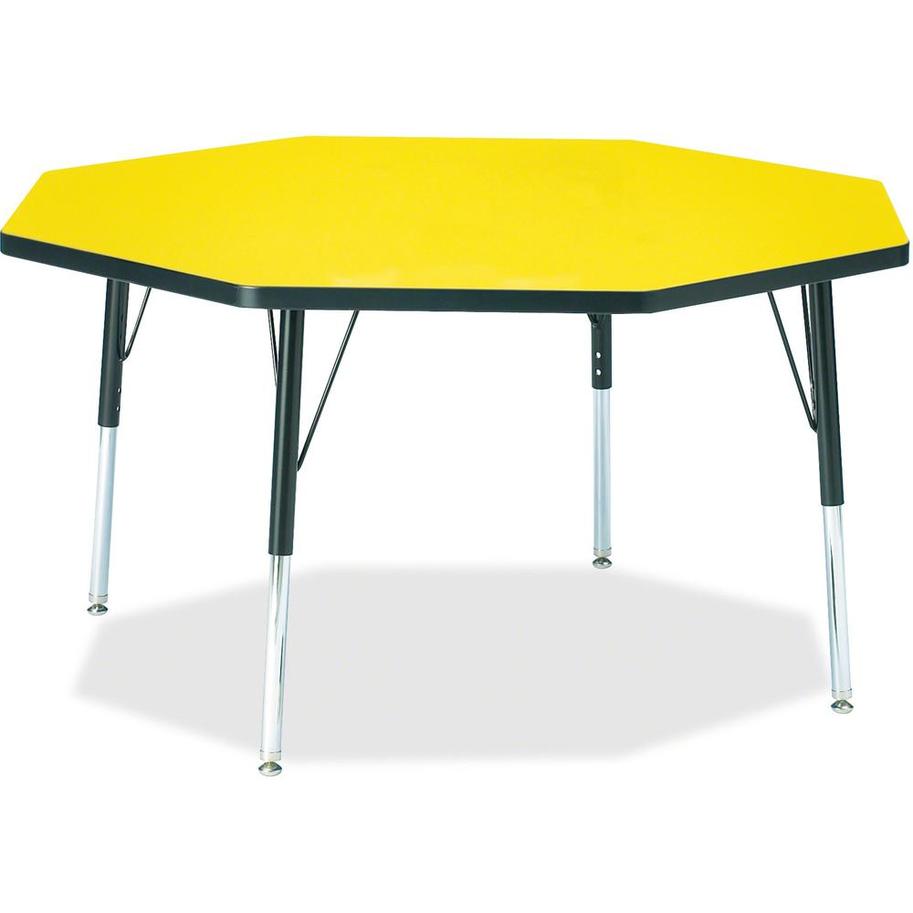 """Jonti-Craft Berries Elementary Height Color Edge Octagon Table - Laminated Octagonal, Yellow Top - Four Leg Base - 4 Legs - 1.13"""" Table Top Thickness x 48"""" Table Top Diameter - 24"""" Height - Assembly R. Picture 1"""