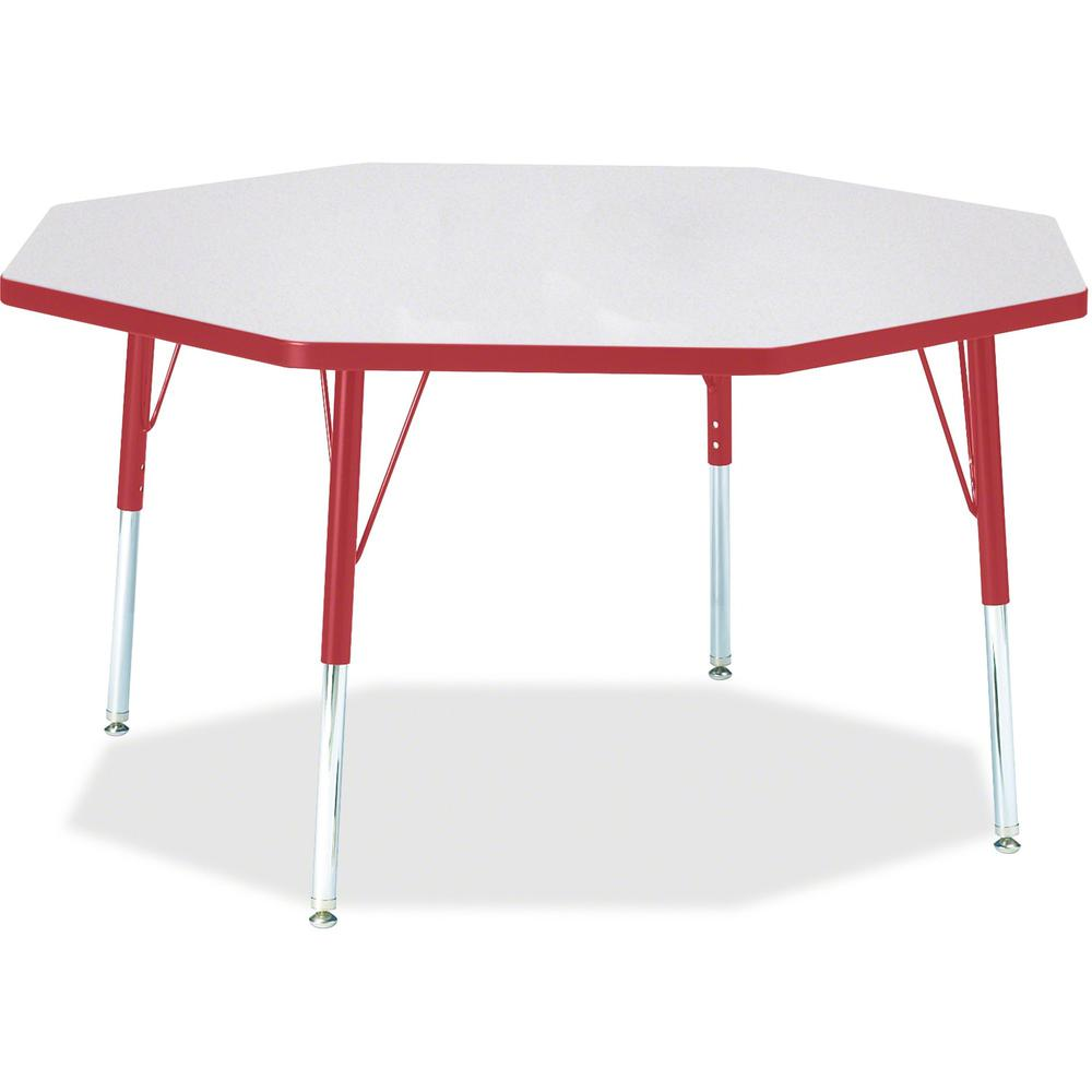 "Berries Elementary Height Color Edge Octagon Table - Laminated Octagonal, Red Top - Four Leg Base - 4 Legs - 1.13"" Table Top Thickness x 48"" Table Top Diameter - 24"" Height - Assembly Required - Powde. Picture 1"