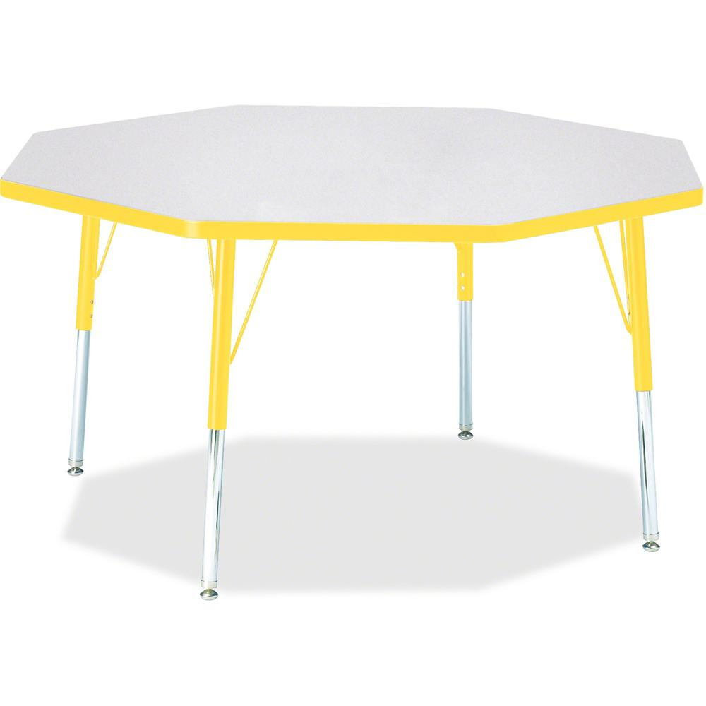 "Berries Elementary Height Color Edge Octagon Table - Laminated Octagonal, Yellow Top - Four Leg Base - 4 Legs - 1.13"" Table Top Thickness x 48"" Table Top Diameter - 24"" Height - Assembly Required - Po. Picture 1"