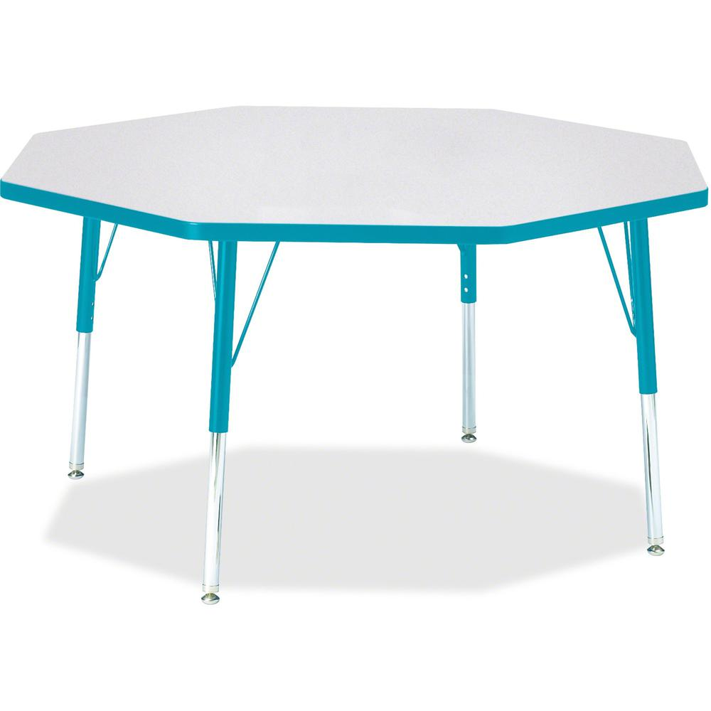 "Berries Elementary Height Color Edge Octagon Table - Laminated Octagonal, Teal Top - Four Leg Base - 4 Legs - 1.13"" Table Top Thickness x 48"" Table Top Diameter - 24"" Height - Assembly Required - Powd. Picture 1"