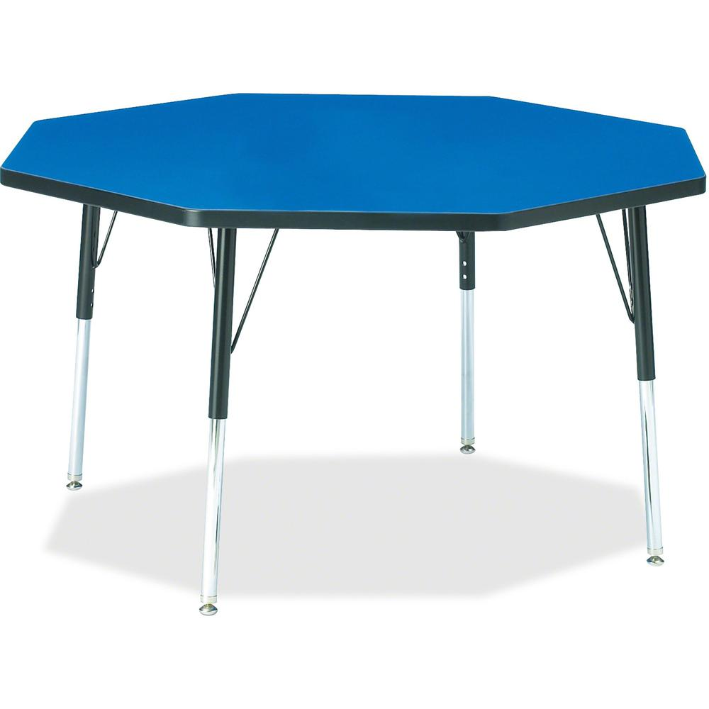 "Berries Adult Height Color Top Octagon Table - Blue Octagonal, Laminated Top - Four Leg Base - 4 Legs - 1.13"" Table Top Thickness x 48"" Table Top Diameter - 31"" Height - Assembly Required - Powder Coa. Picture 1"