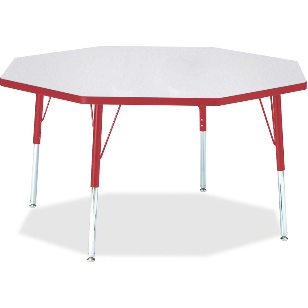 """Berries Adult Height Color Edge Octagon Table - Gray Octagonal, Laminated Top - Four Leg Base - 4 Legs - 1.13"""" Table Top Thickness x 48"""" Table Top Diameter - 31"""" Height - Assembly Required - Powder Co. Picture 1"""