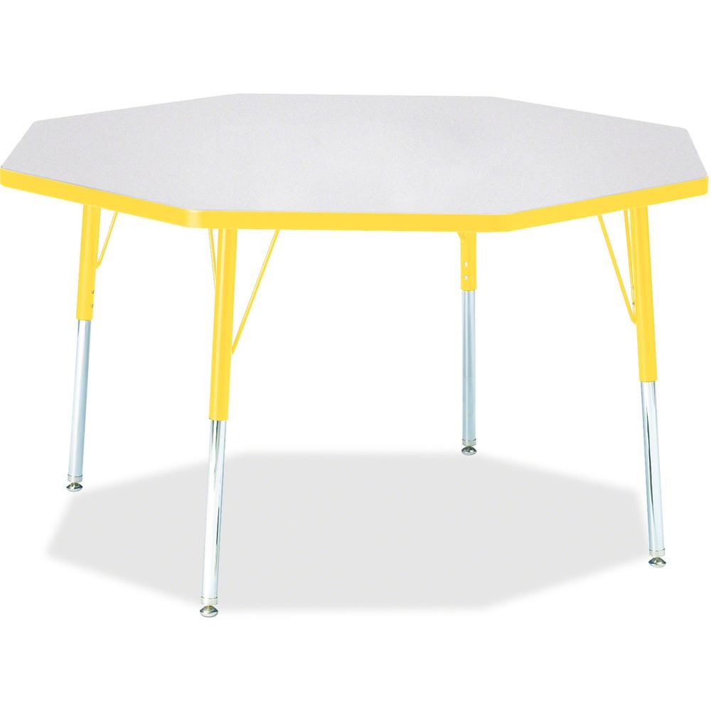 "Berries Adult Height Color Edge Octagon Table - Gray Octagonal, Laminated Top - Four Leg Base - 4 Legs - 1.13"" Table Top Thickness x 48"" Table Top Diameter - 31"" Height - Assembly Required - Powder Co"