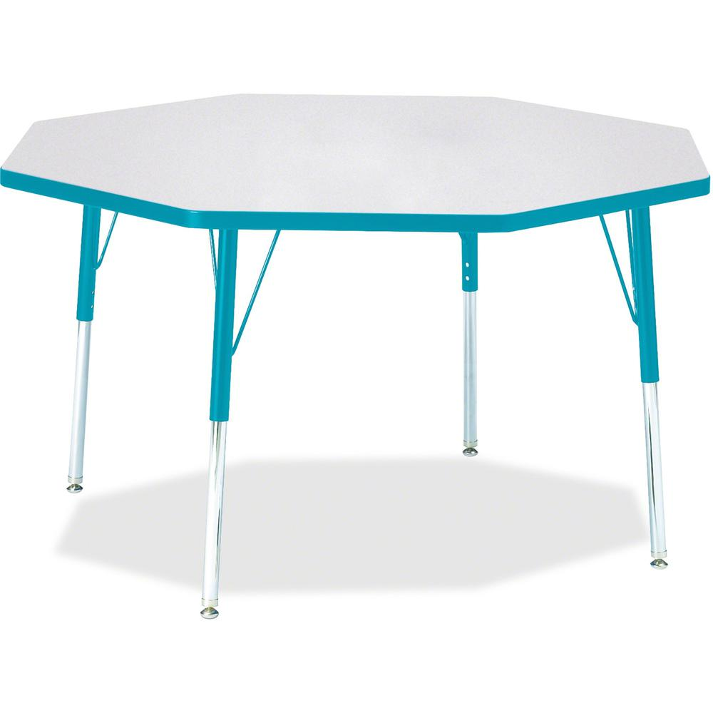 """Berries Adult Height Color Edge Octagon Table - Laminated Octagonal, Teal Top - Four Leg Base - 4 Legs - 1.13"""" Table Top Thickness x 48"""" Table Top Diameter - 31"""" Height - Assembly Required - Powder Co. Picture 1"""