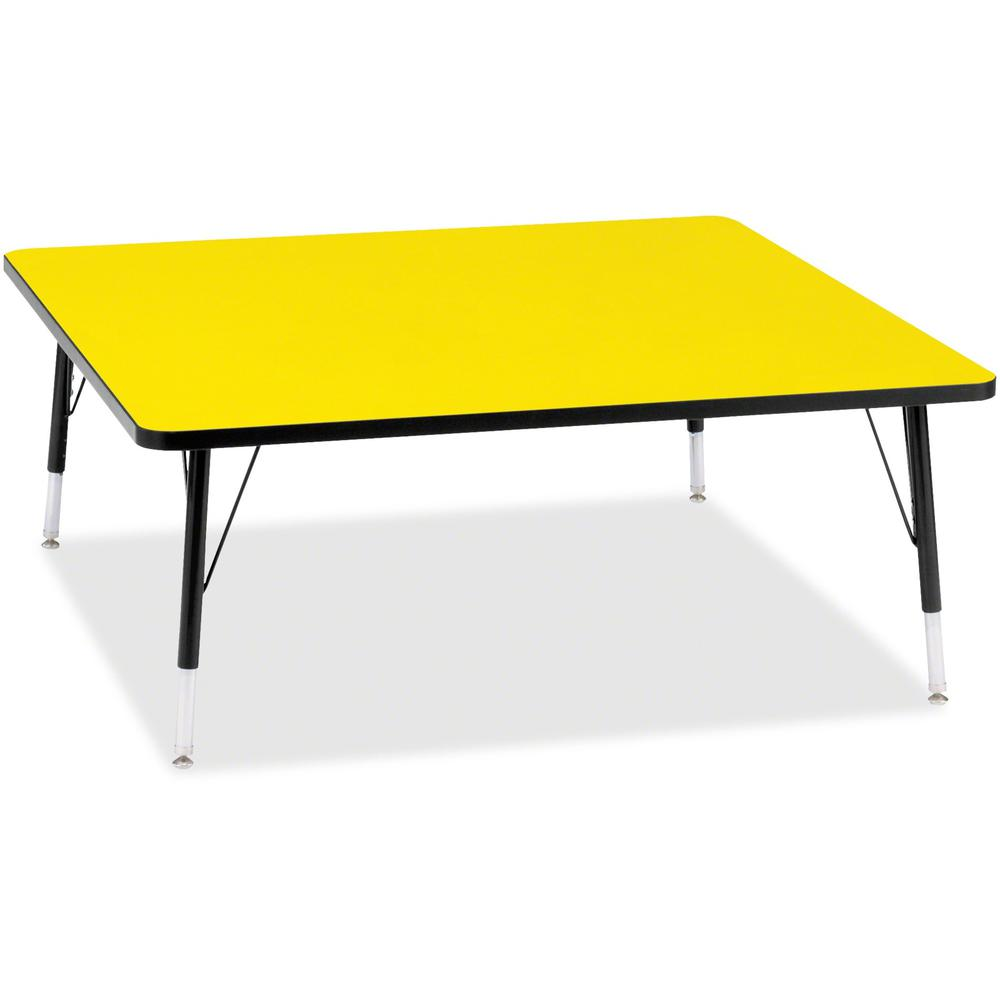 """Berries Toddler Height Color Top Square Table - Laminated Square, Yellow Top - Four Leg Base - 4 Legs - 48"""" Table Top Length x 48"""" Table Top Width x 1.13"""" Table Top Thickness - 15"""" Height - Assembly R. Picture 1"""