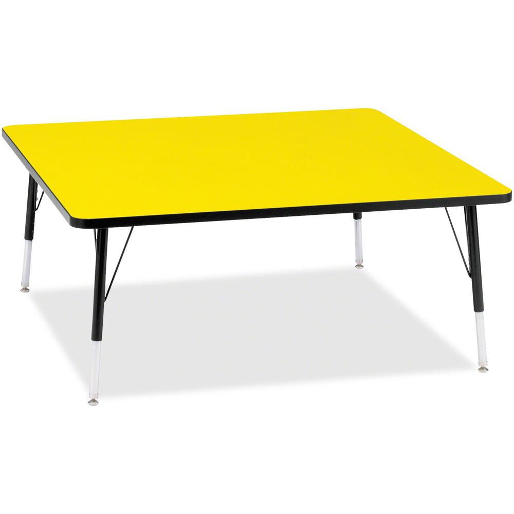 """Berries Elementary Height Color Top Square Table - Laminated Square, Yellow Top - Four Leg Base - 4 Legs - 48"""" Table Top Length x 48"""" Table Top Width x 1.13"""" Table Top Thickness - 24"""" Height - Assembl. Picture 1"""
