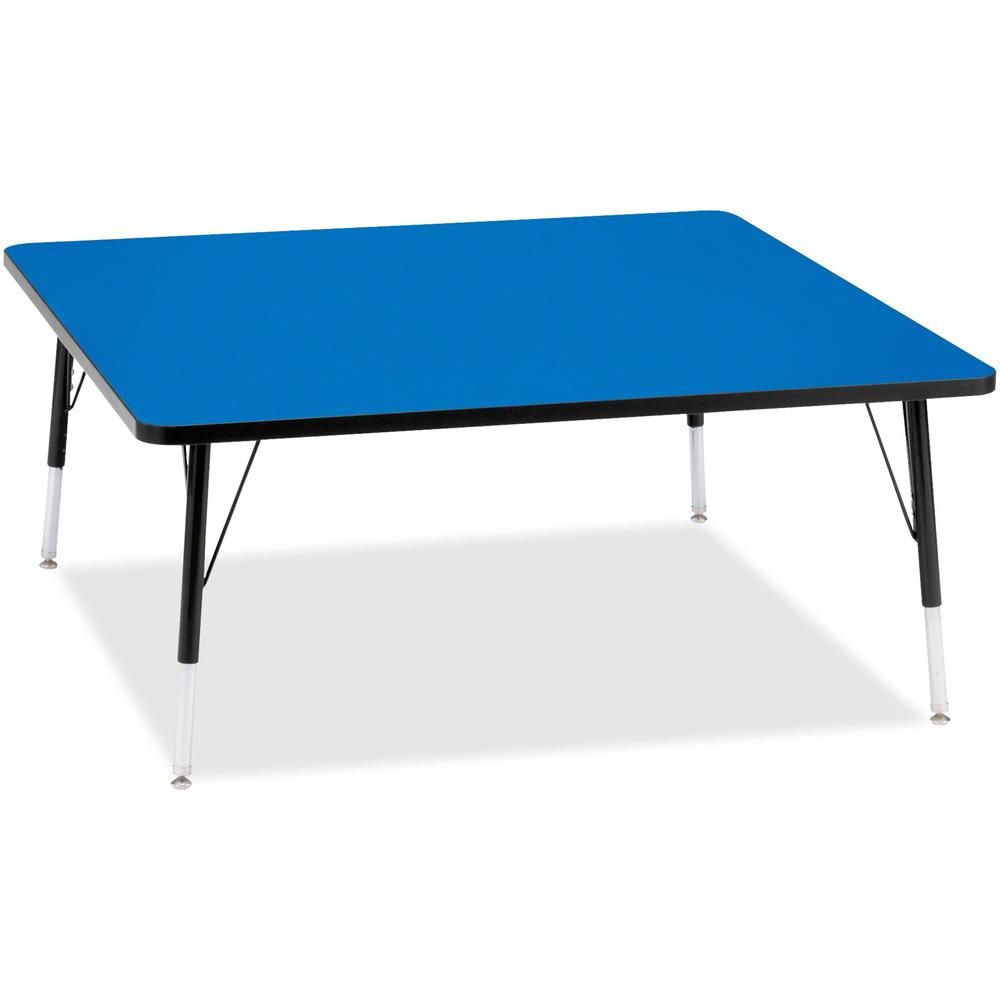 "Jonti-Craft Berries Elementary Height Color Top Square Table - Blue Square, Laminated Top - Four Leg Base - 4 Legs - 48"" Table Top Length x 48"" Table Top Width x 1.13"" Table Top Thickness - 24"" Height. Picture 1"