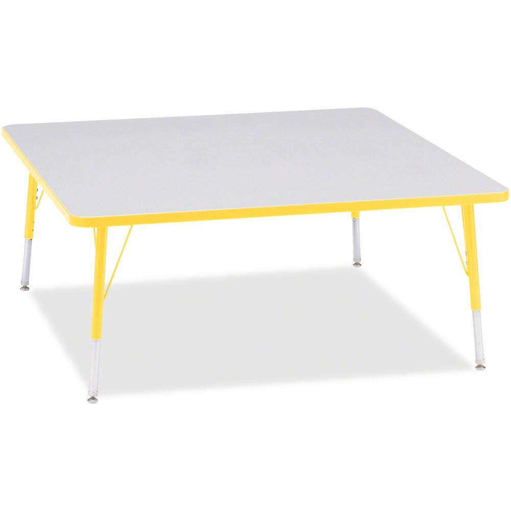 """Berries Elementary Height Color Edge Square Table - Laminated Square, Yellow Top - Four Leg Base - 4 Legs - 48"""" Table Top Length x 48"""" Table Top Width x 1.13"""" Table Top Thickness - 24"""" Height - Assemb. Picture 1"""
