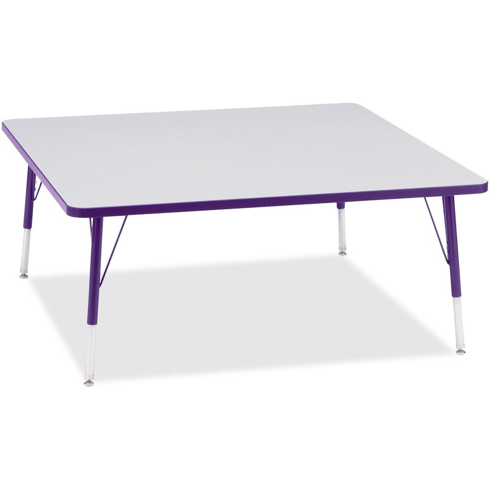 """Berries Elementary Height Color Edge Square Table - Laminated Square, Purple Top - Four Leg Base - 4 Legs - 48"""" Table Top Length x 48"""" Table Top Width x 1.13"""" Table Top Thickness - 24"""" Height - Assemb. Picture 1"""