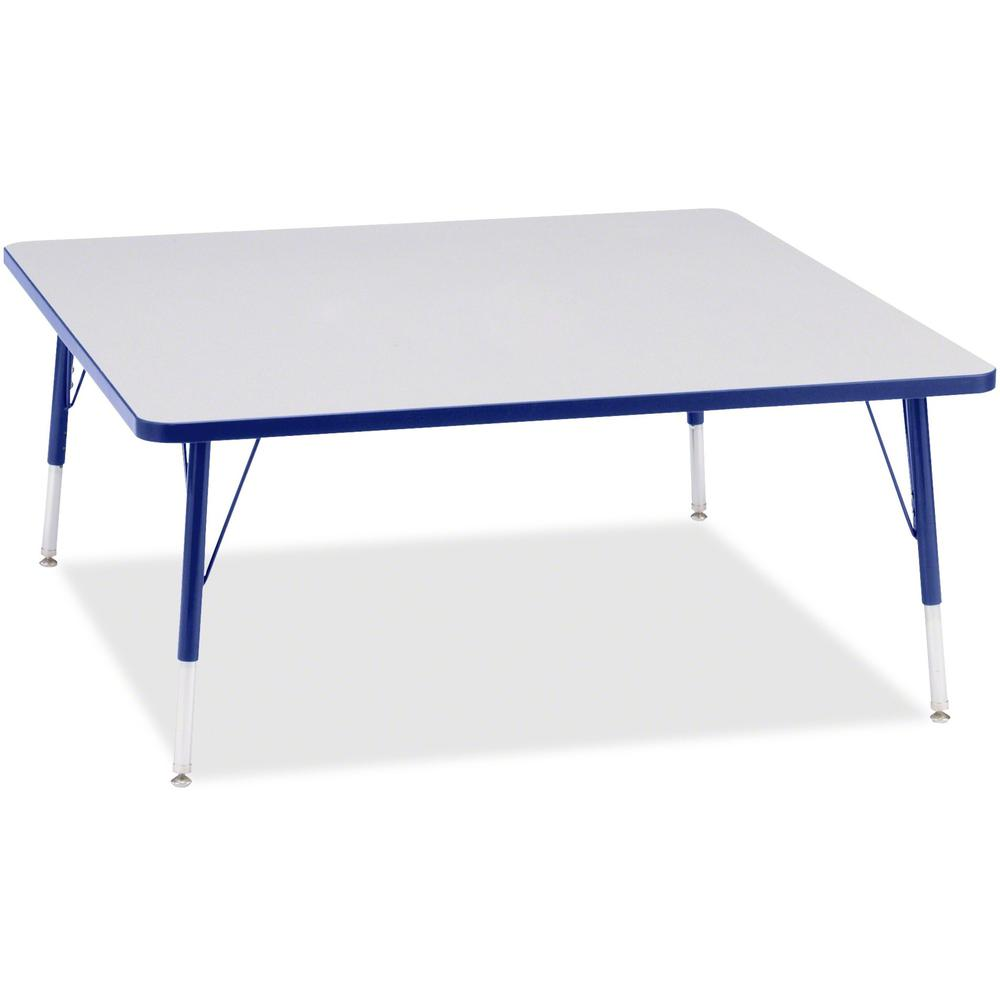 """Berries Elementary Height Color Edge Square Table - Gray Square, Laminated Top - Four Leg Base - 4 Legs - 48"""" Table Top Length x 48"""" Table Top Width x 1.13"""" Table Top Thickness - 24"""" Height - Assembly. Picture 1"""