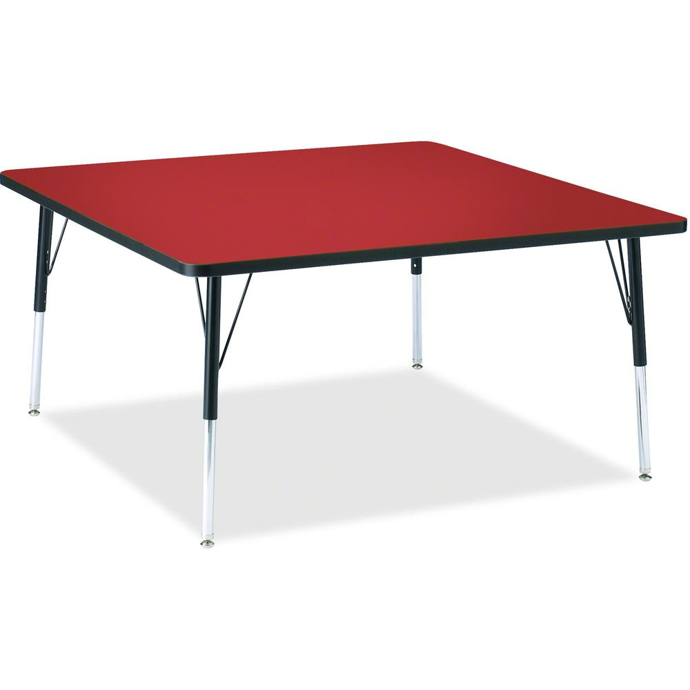 """Berries Adult Height Classic Color Top Squaree Table - Laminated Square, Red Top - Four Leg Base - 4 Legs - 48"""" Table Top Length x 48"""" Table Top Width x 1.13"""" Table Top Thickness - 31"""" Height - Assemb. Picture 1"""