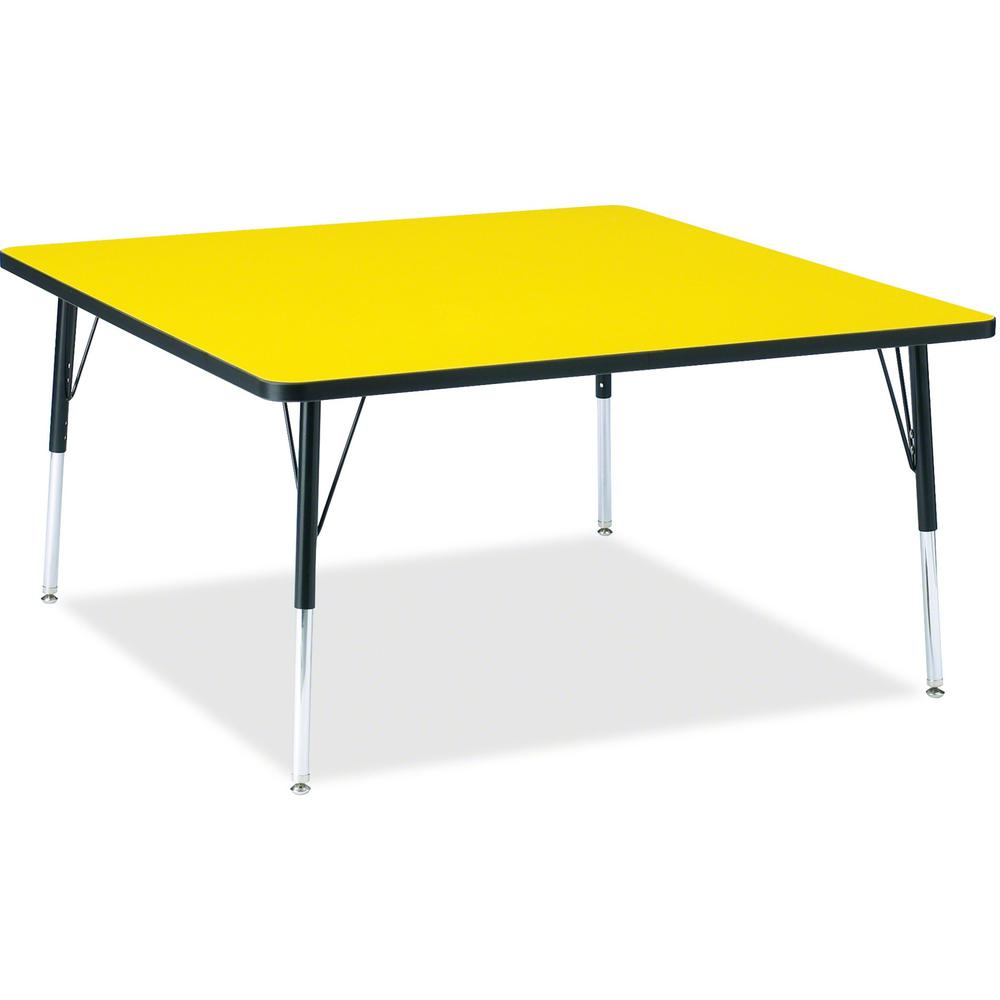 """Berries Adult Height Classic Color Top Squaree Table - Laminated Square, Yellow Top - Four Leg Base - 4 Legs - 48"""" Table Top Length x 48"""" Table Top Width x 1.13"""" Table Top Thickness - 31"""" Height - Ass. Picture 1"""
