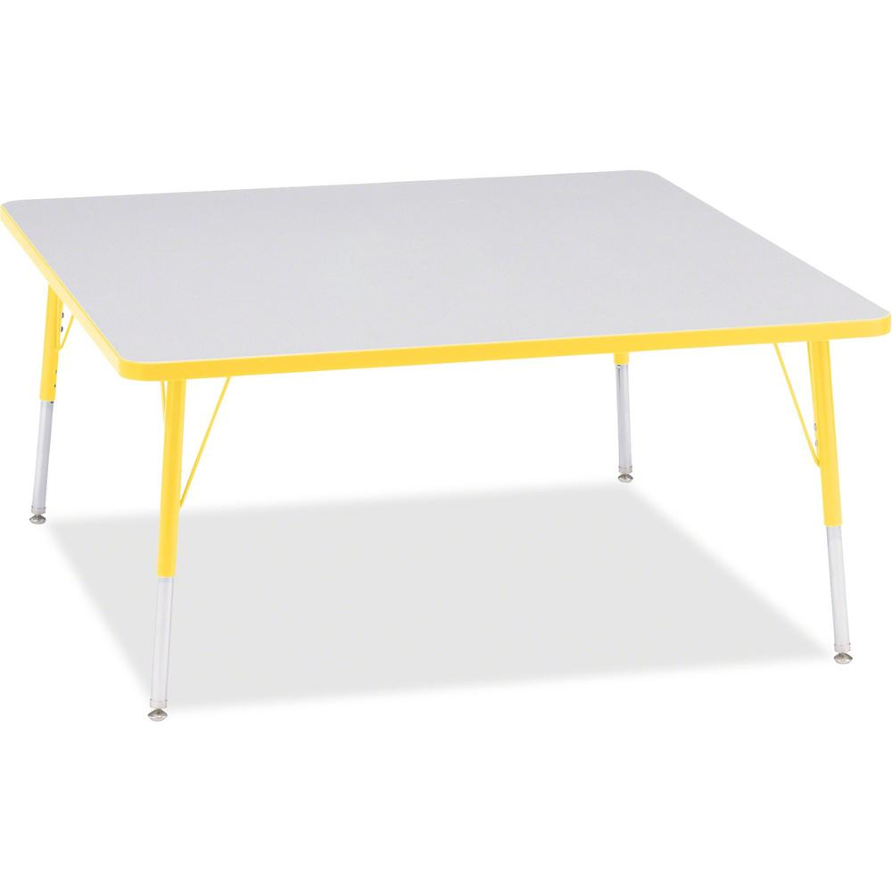 """Berries Adult Height Prism Color Edge Square Table - Laminated Square, Yellow Top - Four Leg Base - 4 Legs - 48"""" Table Top Length x 48"""" Table Top Width x 1.13"""" Table Top Thickness - 31"""" Height - Assem. Picture 1"""