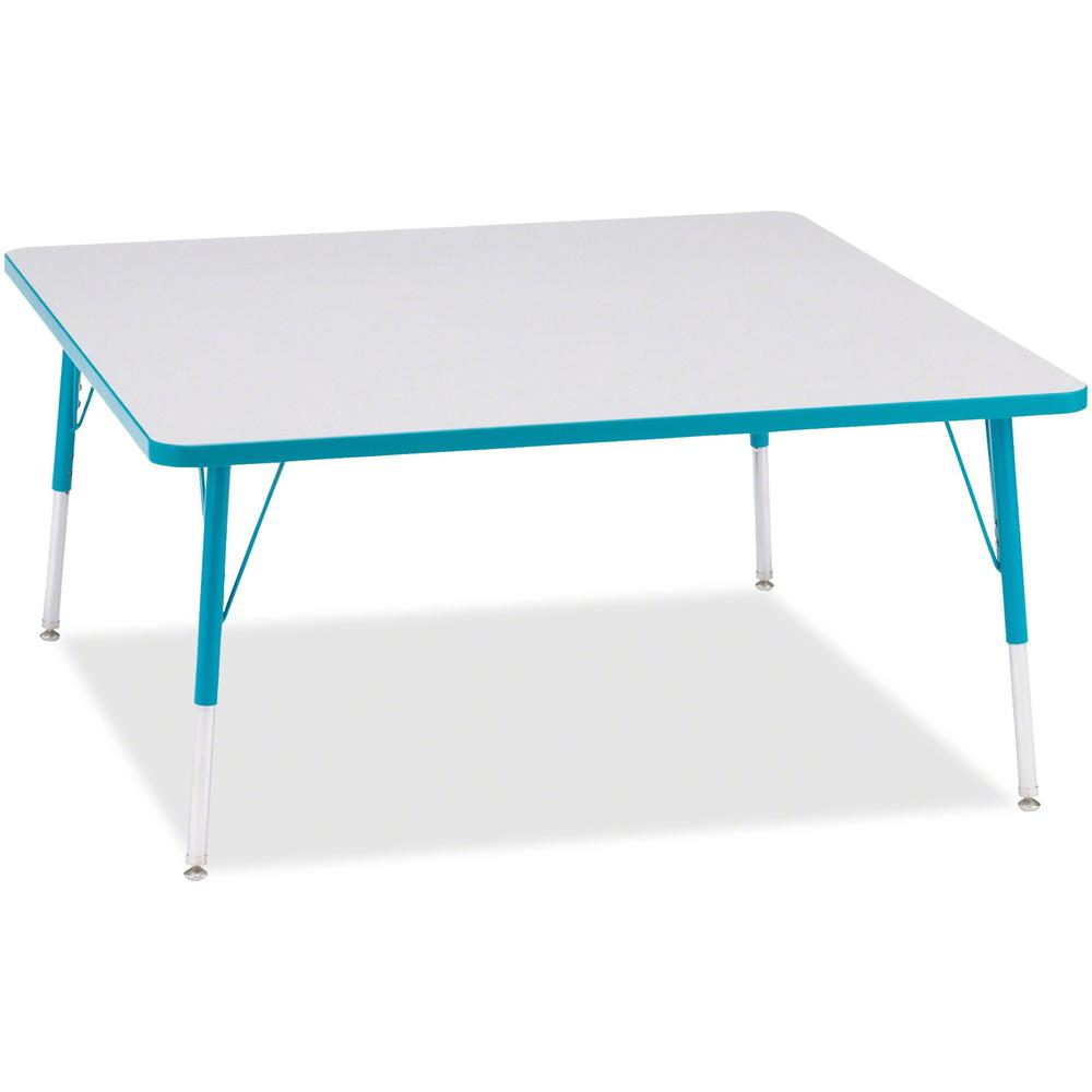 "Berries Adult Height Prism Color Edge Square Table - Laminated Square, Teal Top - Four Leg Base - 4 Legs - 48"" Table Top Length x 48"" Table Top Width x 1.13"" Table Top Thickness - 31"" Height - Assembl. Picture 1"