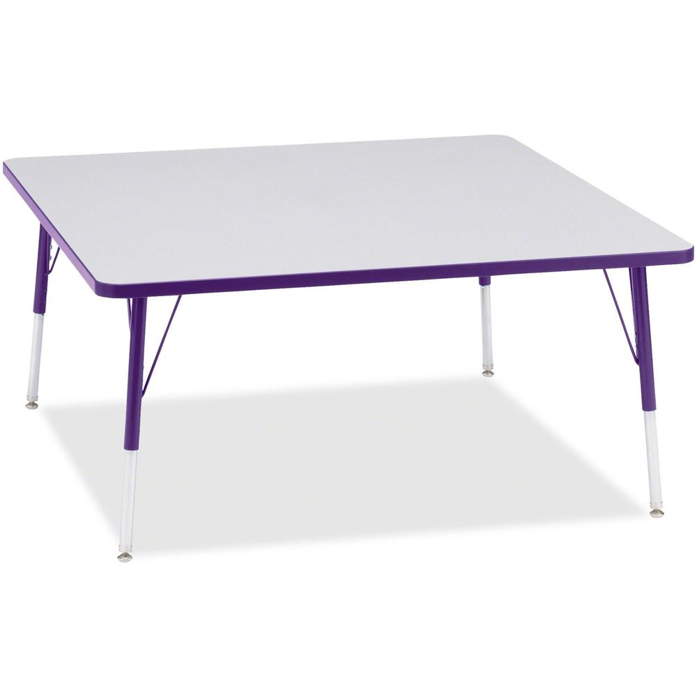 "Berries Adult Height Prism Color Edge Square Table - Gray Square, Laminated Top - Four Leg Base - 4 Legs - 48"" Table Top Length x 48"" Table Top Width x 1.13"" Table Top Thickness - 31"" Height - Assembl. Picture 1"