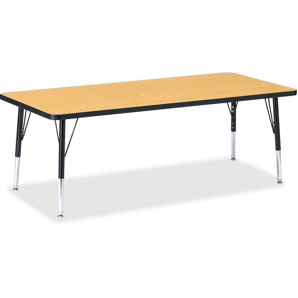 """Berries Toddler Height Color Top Rectangle Table - Black Oak Rectangle, Laminated Top - Four Leg Base - 4 Legs - 72"""" Table Top Length x 30"""" Table Top Width x 1.13"""" Table Top Thickness - 15"""" Height - A. Picture 1"""