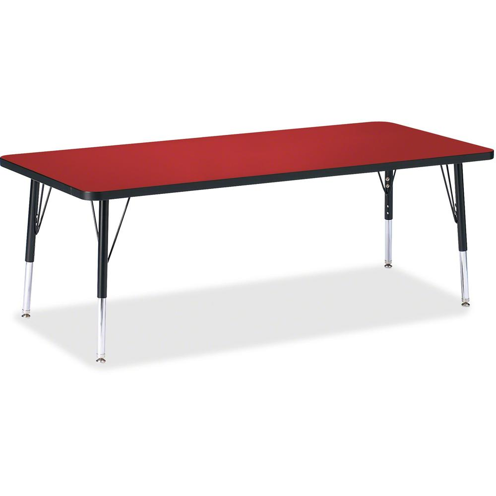 "Berries Toddler Height Color Top Rectangle Table - Laminated Rectangle, Red Top - Four Leg Base - 4 Legs - 72"" Table Top Length x 30"" Table Top Width x 1.13"" Table Top Thickness - 15"" Height - Assembl. The main picture."
