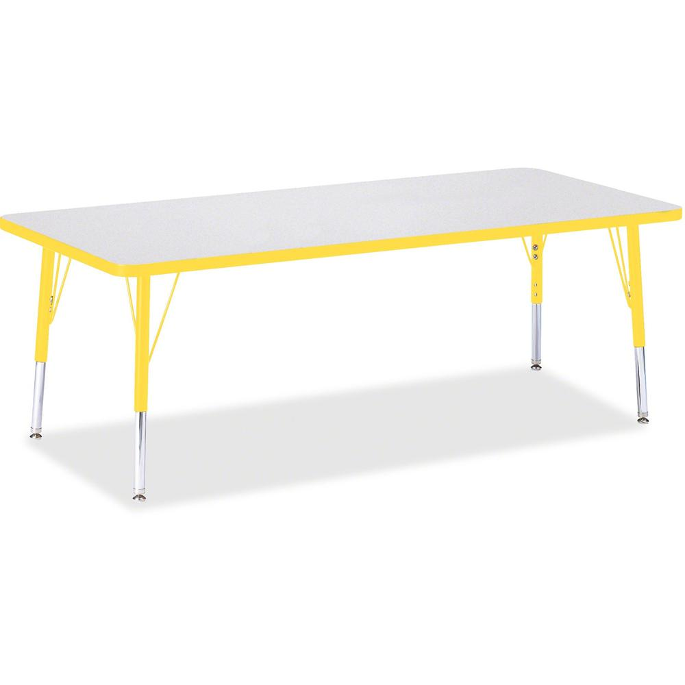 """Berries Toddler Height Prism Edge Rectangle Table - Laminated Rectangle, Yellow Top - Four Leg Base - 4 Legs - 72"""" Table Top Length x 30"""" Table Top Width x 1.13"""" Table Top Thickness - 15"""" Height - Ass. Picture 1"""