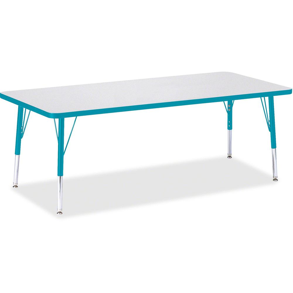"Berries Toddler Height Prism Edge Rectangle Table - Laminated Rectangle, Teal Top - Four Leg Base - 4 Legs - 72"" Table Top Length x 30"" Table Top Width x 1.13"" Table Top Thickness - 15"" Height - Assem. Picture 1"