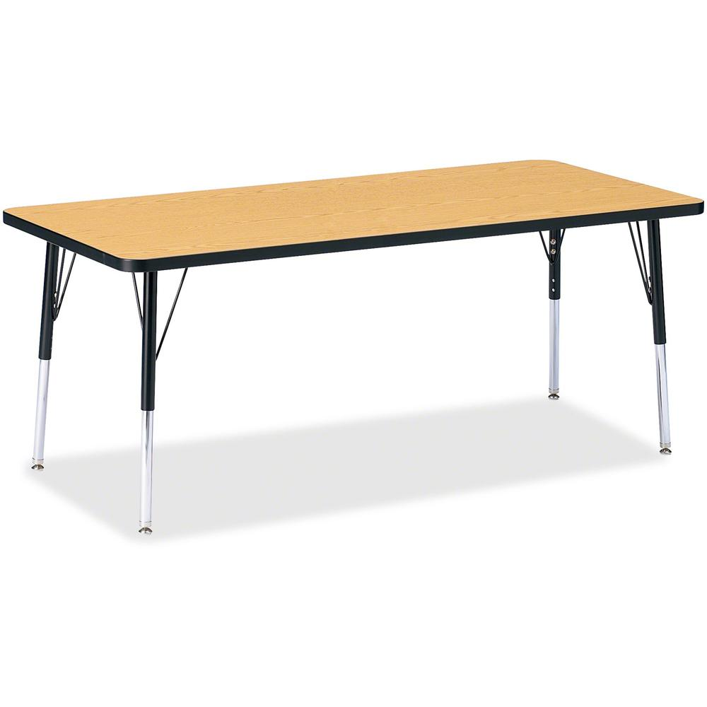 "Berries Elementary Height Color Top Rectangle Table - Black Oak Rectangle, Laminated Top - Four Leg Base - 4 Legs - 72"" Table Top Length x 30"" Table Top Width x 1.13"" Table Top Thickness - Assembly Re. Picture 1"