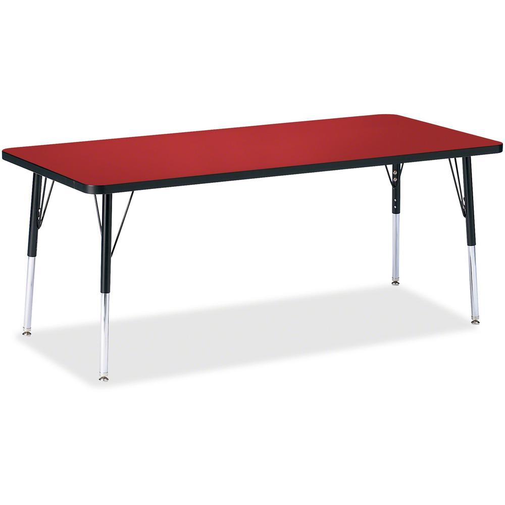 """Berries Elementary Height Color Top Rectangle Table - Laminated Rectangle, Red Top - Four Leg Base - 4 Legs - 72"""" Table Top Length x 30"""" Table Top Width x 1.13"""" Table Top Thickness - Assembly Required. Picture 1"""