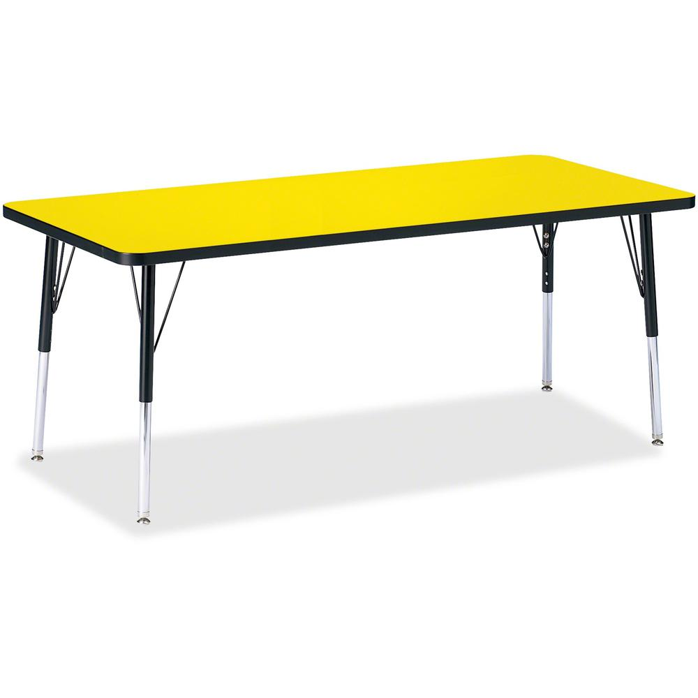 "Berries Elementary Height Color Top Rectangle Table - Laminated Rectangle, Yellow Top - Four Leg Base - 4 Legs - 72"" Table Top Length x 30"" Table Top Width x 1.13"" Table Top Thickness - Assembly Requi. Picture 1"