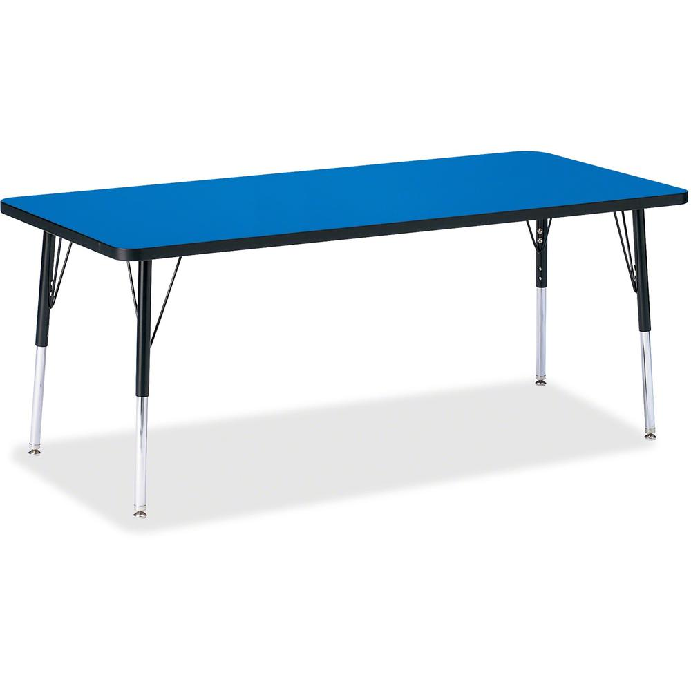 """Berries Elementary Height Color Top Rectangle Table - Blue Rectangle, Laminated Top - Four Leg Base - 4 Legs - 72"""" Table Top Length x 30"""" Table Top Width x 1.13"""" Table Top Thickness - Assembly Require. Picture 1"""