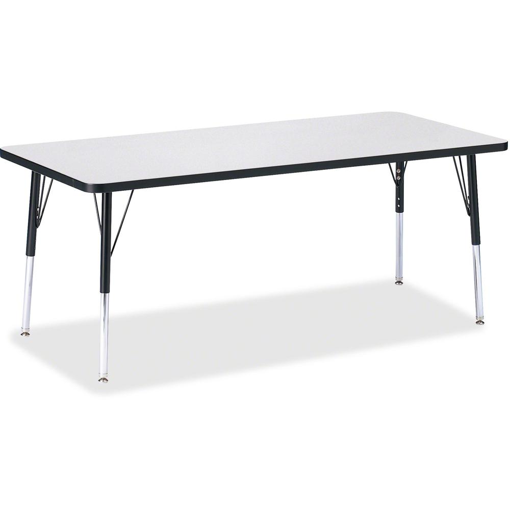 """Berries Elementary Height Color Edge Rectangle Table - Black Rectangle, Laminated Top - Four Leg Base - 4 Legs - 72"""" Table Top Length x 30"""" Table Top Width x 1.13"""" Table Top Thickness - 24"""" Height - A. Picture 1"""