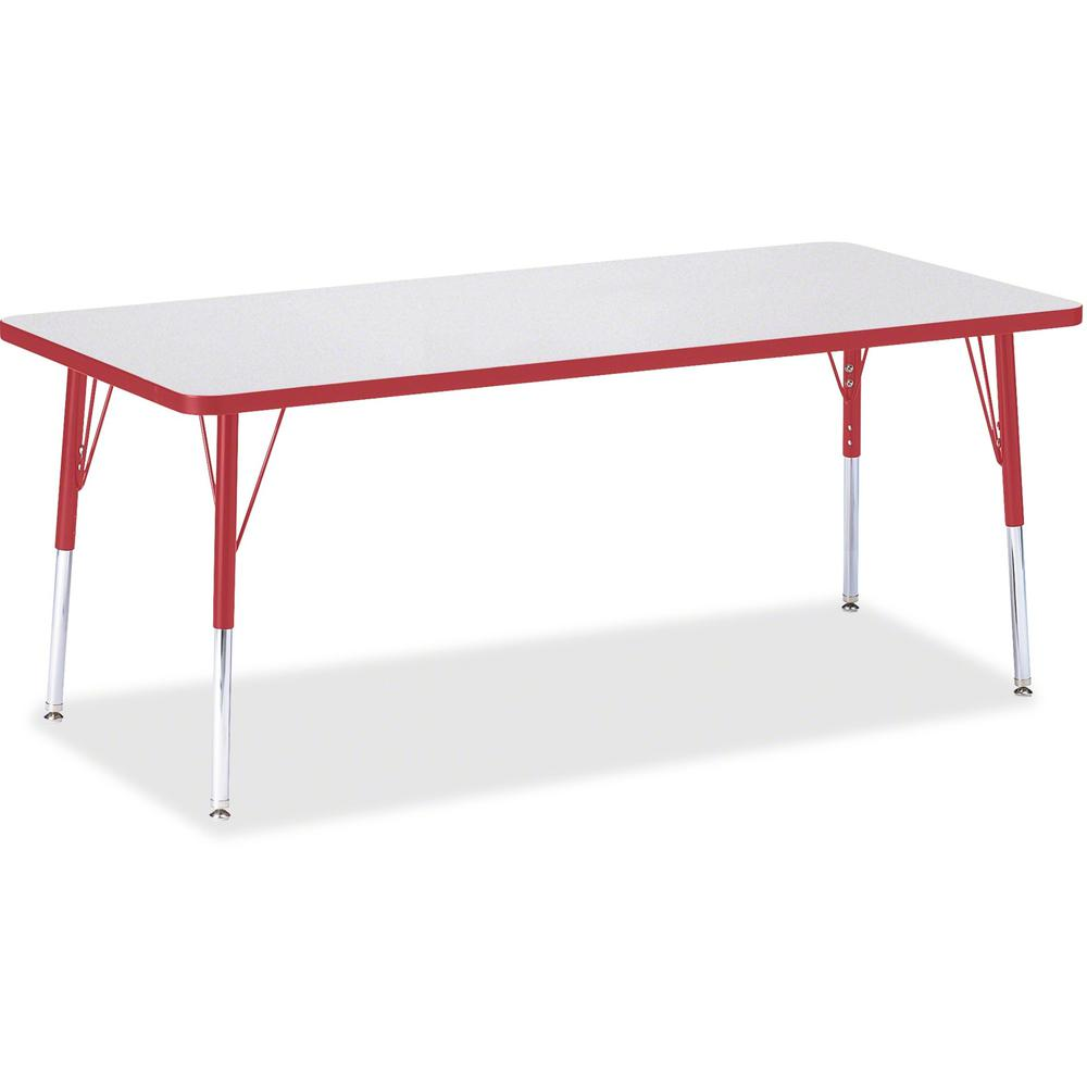 "Berries Elementary Height Color Edge Rectangle Table - Gray Rectangle, Laminated Top - Four Leg Base - 4 Legs - 72"" Table Top Length x 30"" Table Top Width x 1.13"" Table Top Thickness - 24"" Height - As. Picture 1"