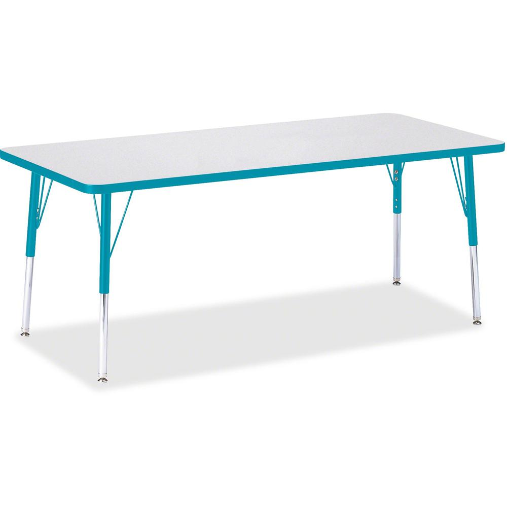"""Berries Elementary Height Color Edge Rectangle Table - Gray Rectangle Top - Four Leg Base - 4 Legs - 72"""" Table Top Length x 30"""" Table Top Width x 1.13"""" Table Top Thickness - 24"""" Height - Assembly Requ. Picture 1"""