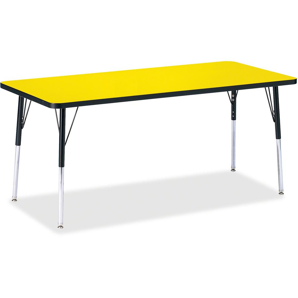 """Berries Adult Height Color Top Rectangle Table - Laminated Rectangle, Yellow Top - Four Leg Base - 4 Legs - 72"""" Table Top Length x 30"""" Table Top Width x 1.13"""" Table Top Thickness - 31"""" Height - Assemb. Picture 1"""