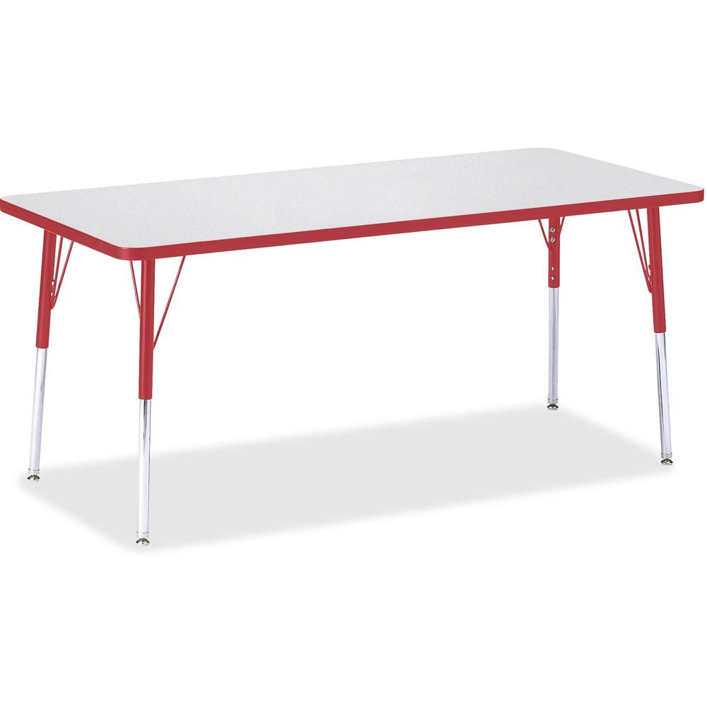 "Jonti-Craft Berries Adult Height Color Edge Rectangle Table - Laminated Rectangle, Red Top - Four Leg Base - 4 Legs - 72"" Table Top Length x 30"" Table Top Width x 1.13"" Table Top Thickness - 31"" Heigh. Picture 1"