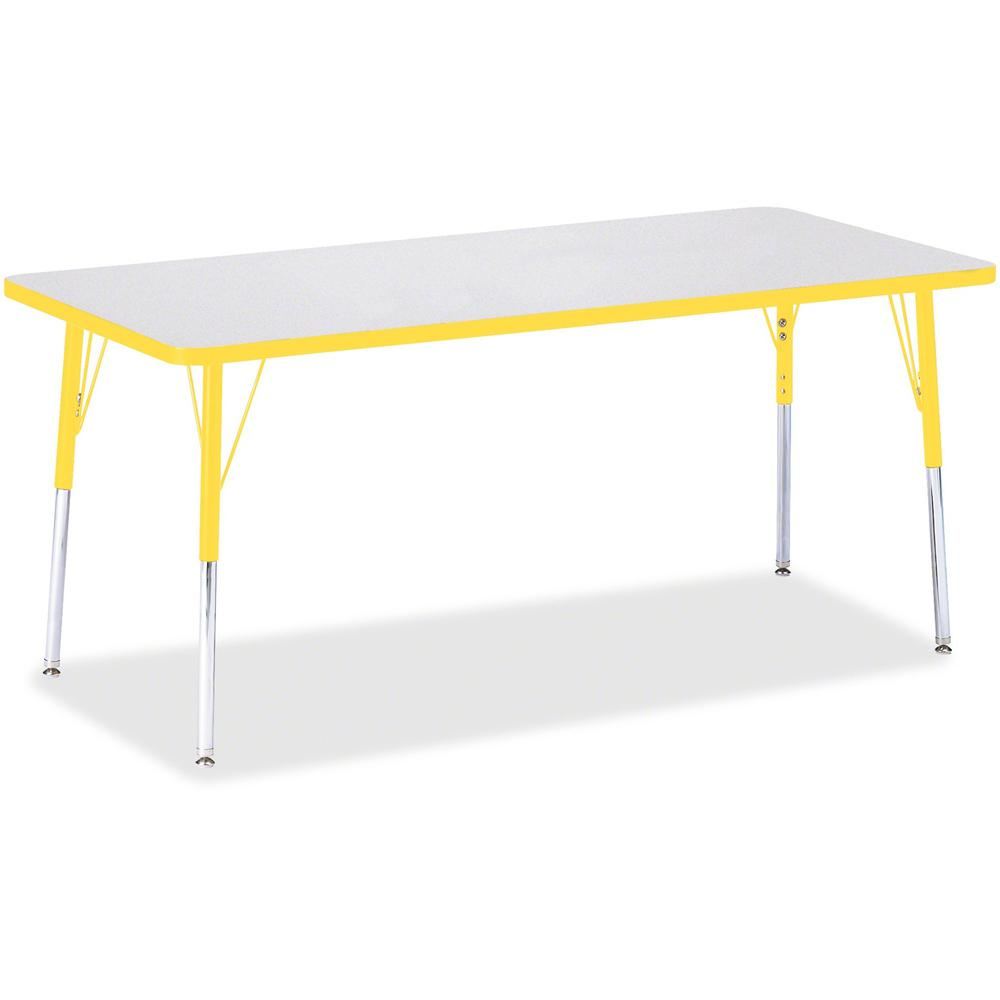 "Berries Adult Height Color Edge Rectangle Table - Laminated Rectangle, Yellow Top - Four Leg Base - 4 Legs - 72"" Table Top Length x 30"" Table Top Width x 1.13"" Table Top Thickness - 31"" Height - Assem. Picture 1"
