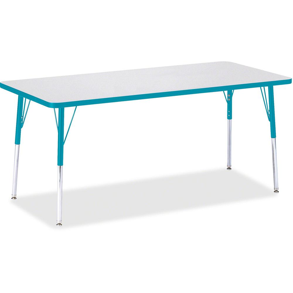"""Berries Adult Height Color Edge Rectangle Table - Laminated Rectangle, Teal Top - Four Leg Base - 4 Legs - 72"""" Table Top Length x 30"""" Table Top Width x 1.13"""" Table Top Thickness - 31"""" Height - Assembl. Picture 1"""