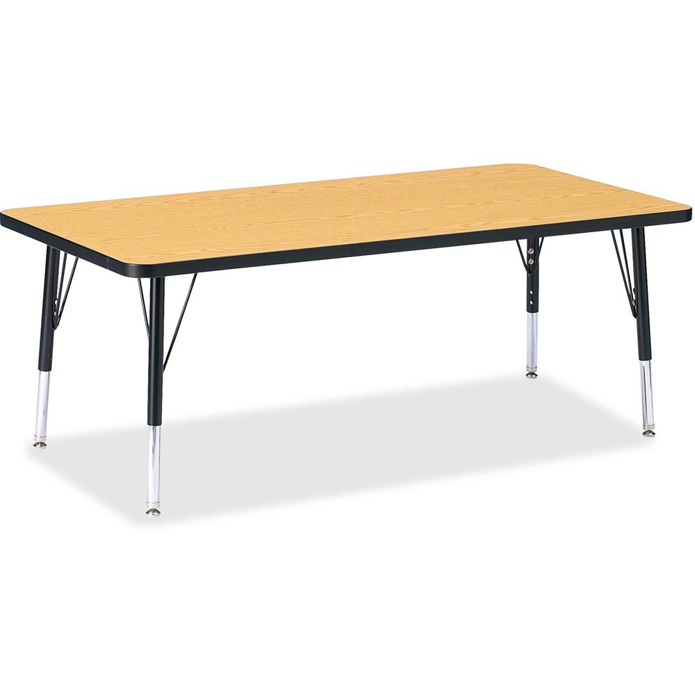 """Berries Toddler Height Color Top Rectangle Table - Black Oak Rectangle, Laminated Top - Four Leg Base - 4 Legs - 60"""" Table Top Length x 30"""" Table Top Width x 1.13"""" Table Top Thickness - 15"""" Height - A. Picture 1"""