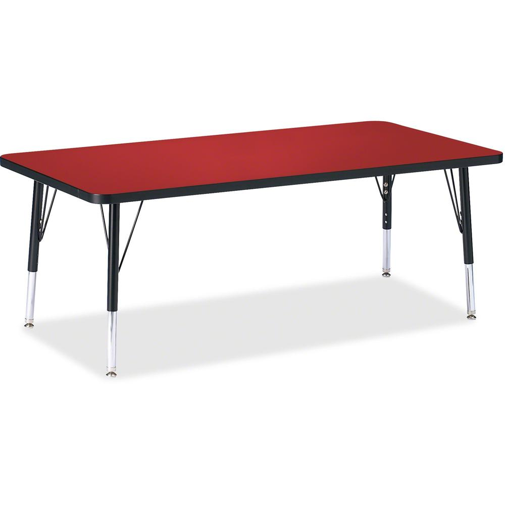 """Berries Toddler Height Color Top Rectangle Table - Laminated Rectangle, Red Top - Four Leg Base - 4 Legs - 60"""" Table Top Length x 30"""" Table Top Width x 1.13"""" Table Top Thickness - 15"""" Height - Assembl. Picture 1"""
