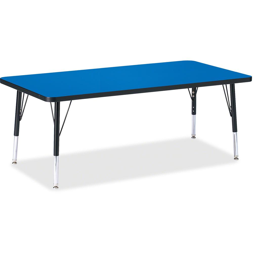 "Berries Toddler Height Color Top Rectangle Table - Blue Rectangle, Laminated Top - Four Leg Base - 4 Legs - 60"" Table Top Length x 30"" Table Top Width x 1.13"" Table Top Thickness - 15"" Height - Assemb. Picture 1"