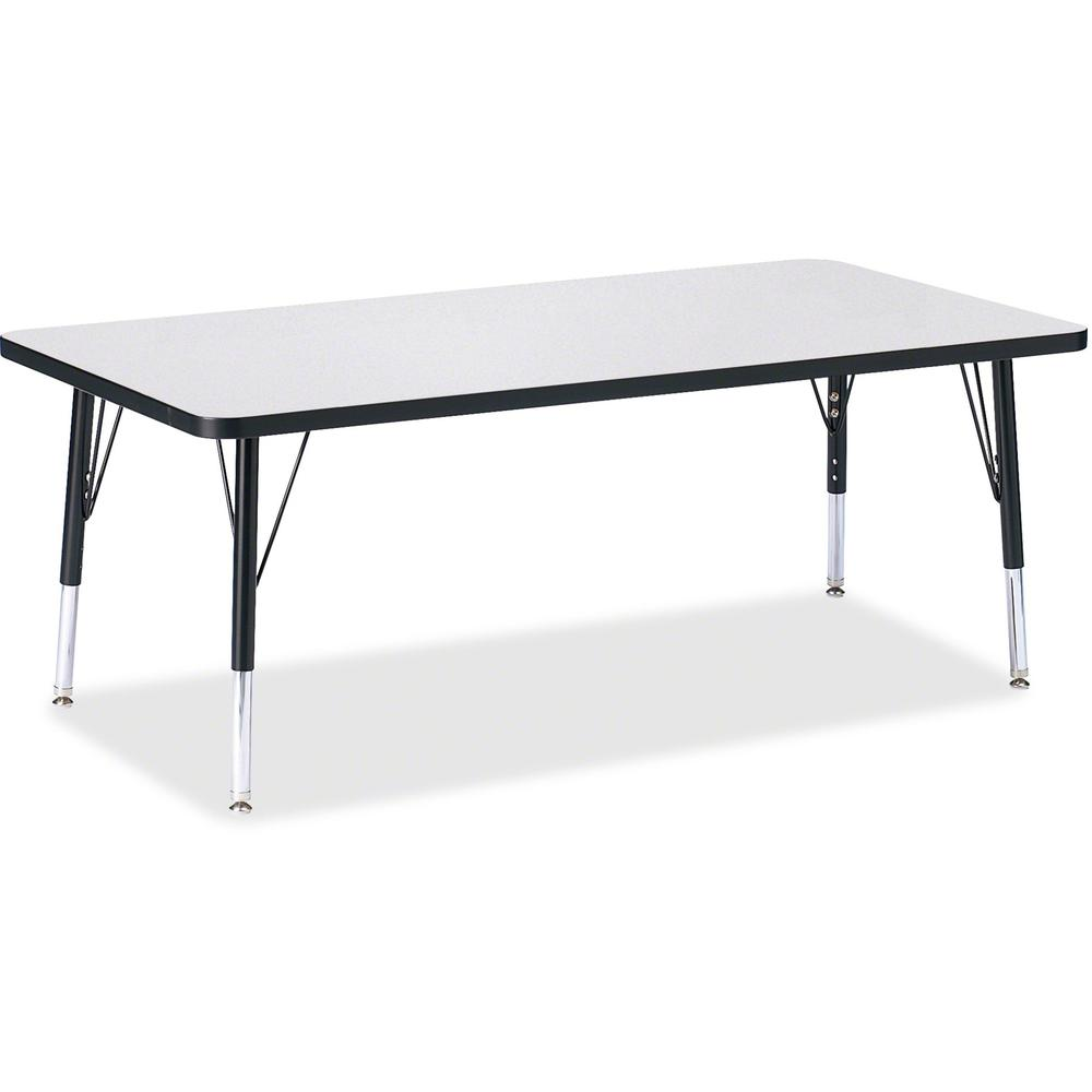 """Jonti-Craft Berries Toddler Height Prism Edge Rectangle Table - Black Rectangle, Laminated Top - Four Leg Base - 4 Legs - 60"""" Table Top Length x 30"""" Table Top Width x 1.13"""" Table Top Thickness - 15"""" H. Picture 1"""