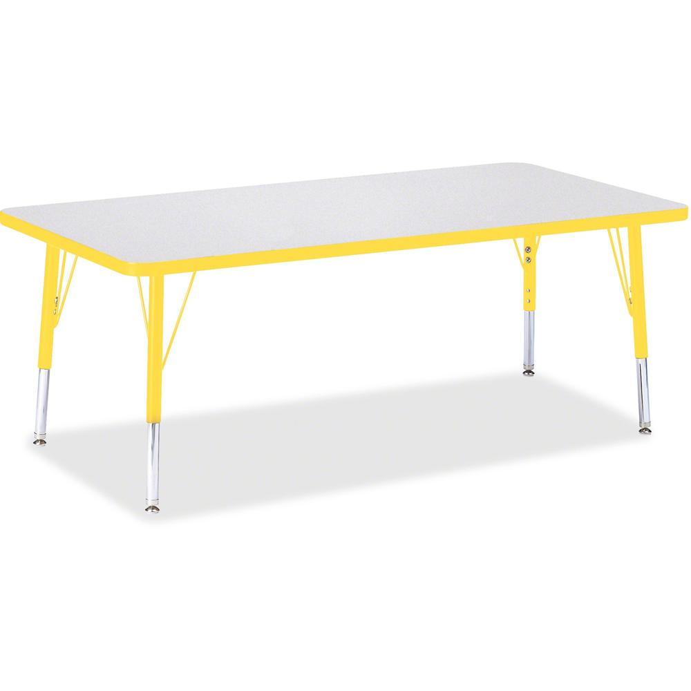 """Berries Toddler Height Prism Edge Rectangle Table - Laminated Rectangle, Yellow Top - Four Leg Base - 4 Legs - 60"""" Table Top Length x 30"""" Table Top Width x 1.13"""" Table Top Thickness - 15"""" Height - Ass. Picture 1"""