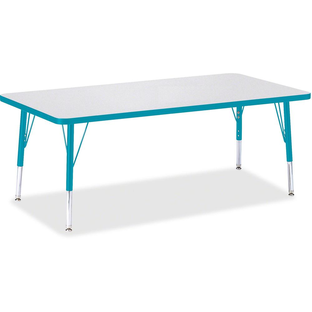 "Berries Toddler Height Prism Edge Rectangle Table - Laminated Rectangle, Teal Top - Four Leg Base - 4 Legs - 60"" Table Top Length x 30"" Table Top Width x 1.13"" Table Top Thickness - 15"" Height - Assem. Picture 1"