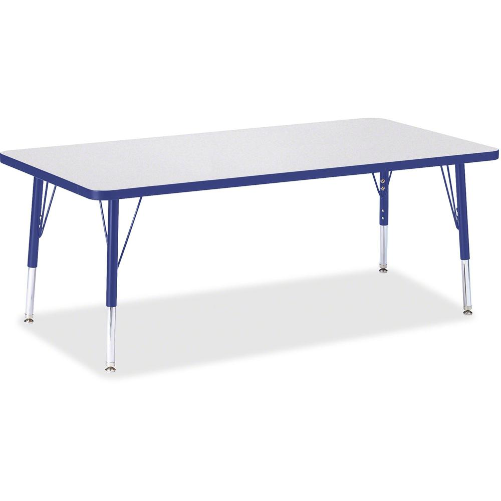 "Jonti-Craft Berries Toddler Height Prism Edge Rectangle Table - Blue Rectangle, Laminated Top - Four Leg Base - 4 Legs - 60"" Table Top Length x 30"" Table Top Width x 1.13"" Table Top Thickness - 15"" He. Picture 1"