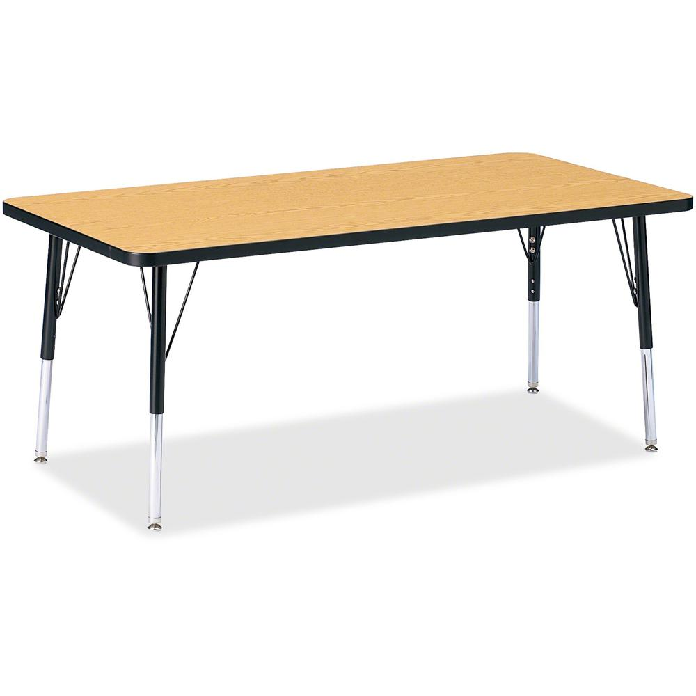 """Berries Elementary Height Color Top Rectangle Table - Black Oak Rectangle, Laminated Top - Four Leg Base - 4 Legs - 60"""" Table Top Length x 30"""" Table Top Width x 1.13"""" Table Top Thickness - 24"""" Height . Picture 1"""