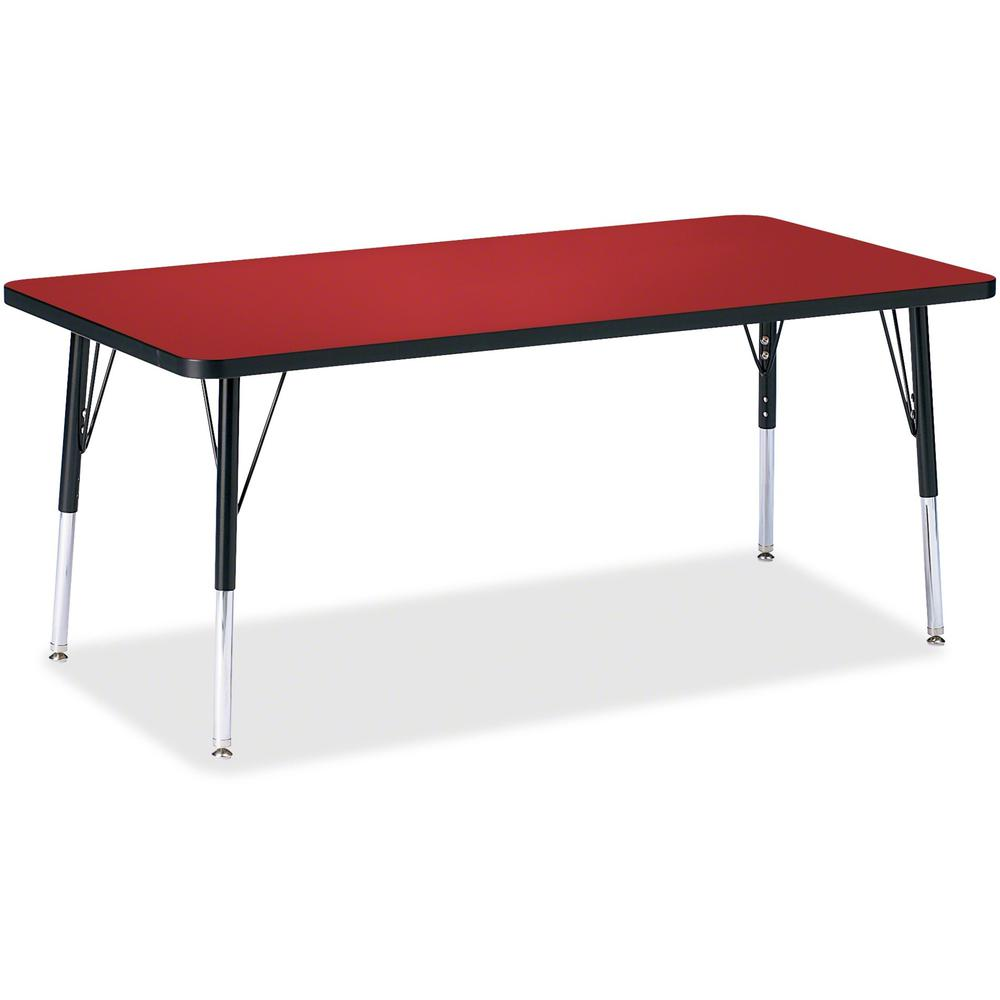 "Berries Elementary Height Color Top Rectangle Table - Laminated Rectangle, Red Top - Four Leg Base - 4 Legs - 60"" Table Top Length x 30"" Table Top Width x 1.13"" Table Top Thickness - Assembly Required. Picture 1"
