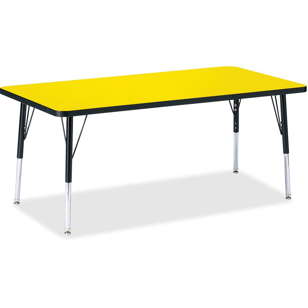 """Jonti-Craft Berries Elementary Height Color Top Rectangle Table - Laminated Rectangle, Yellow Top - Four Leg Base - 4 Legs - 60"""" Table Top Length x 30"""" Table Top Width x 1.13"""" Table Top Thickness - As. Picture 1"""