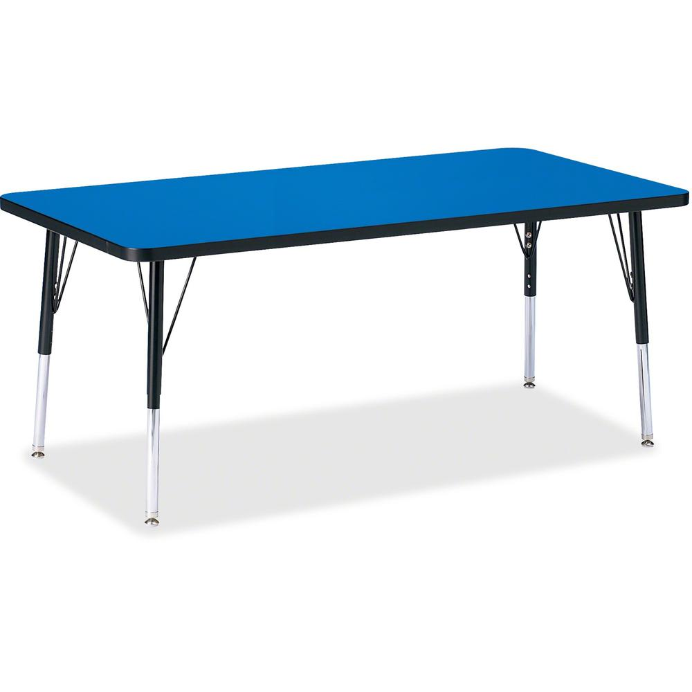 """Jonti-Craft Berries Elementary Height Color Top Rectangle Table - Blue Rectangle, Laminated Top - Four Leg Base - 4 Legs - 60"""" Table Top Length x 30"""" Table Top Width x 1.13"""" Table Top Thickness - Asse. Picture 1"""
