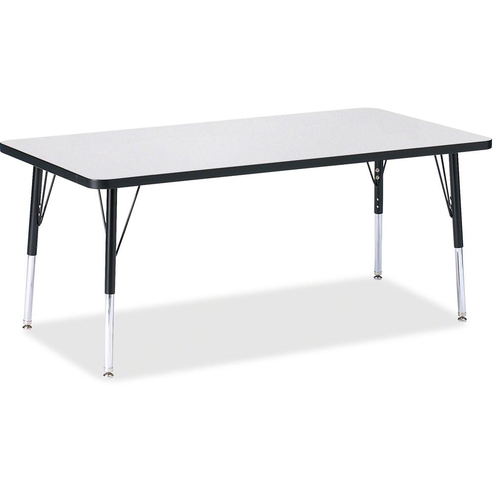 "Berries Elementary Height Color Edge Rectangle Table - Black Rectangle, Laminated Top - Four Leg Base - 4 Legs - 60"" Table Top Length x 30"" Table Top Width x 1.13"" Table Top Thickness - 24"" Height - A. Picture 1"