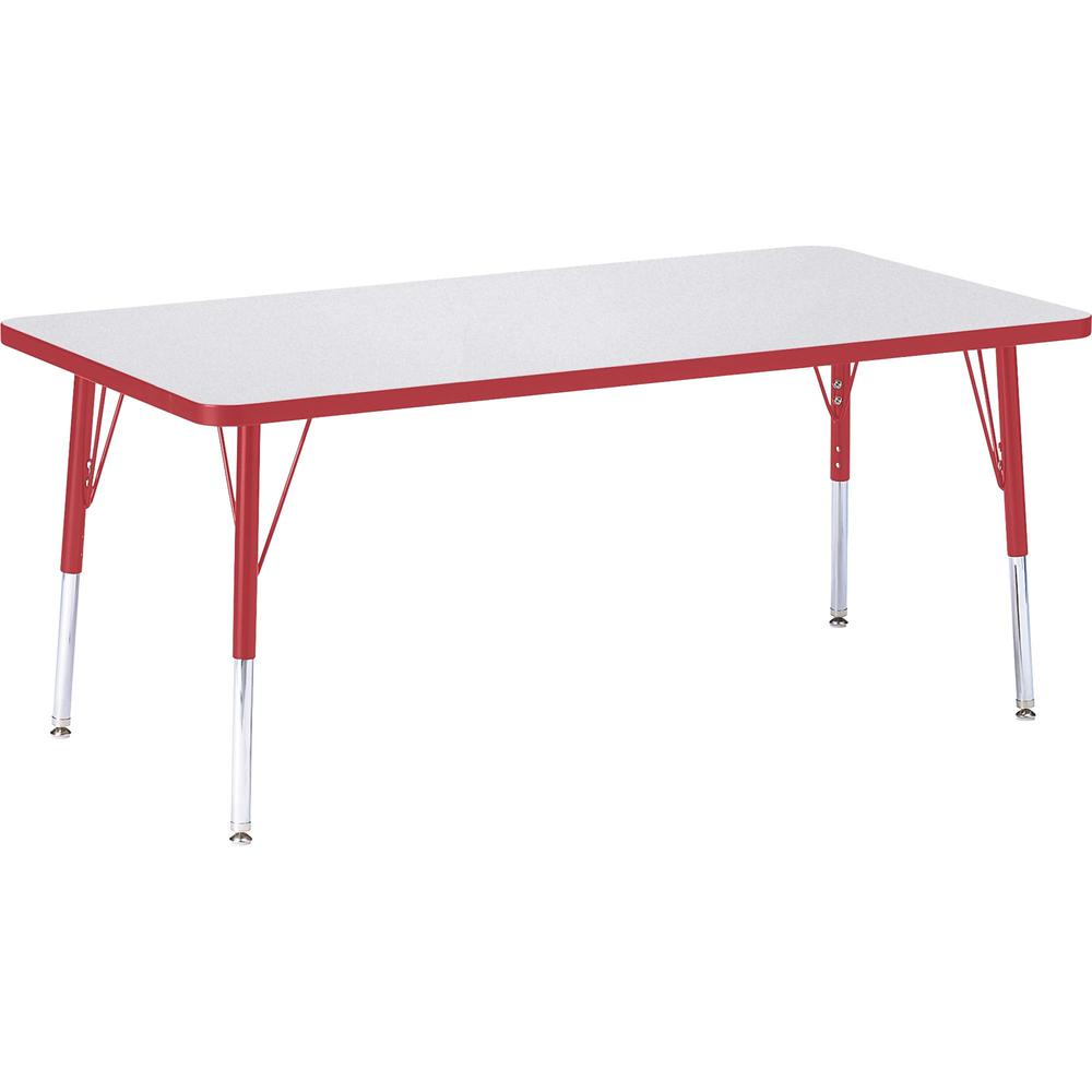 "Berries Elementary Height Color Edge Rectangular Table - Gray Rectangle, Laminated Top - Four Leg Base - 4 Legs - 60"" Table Top Length x 30"" Table Top Width x 1.13"" Table Top Thickness - 24"" Height - . Picture 1"