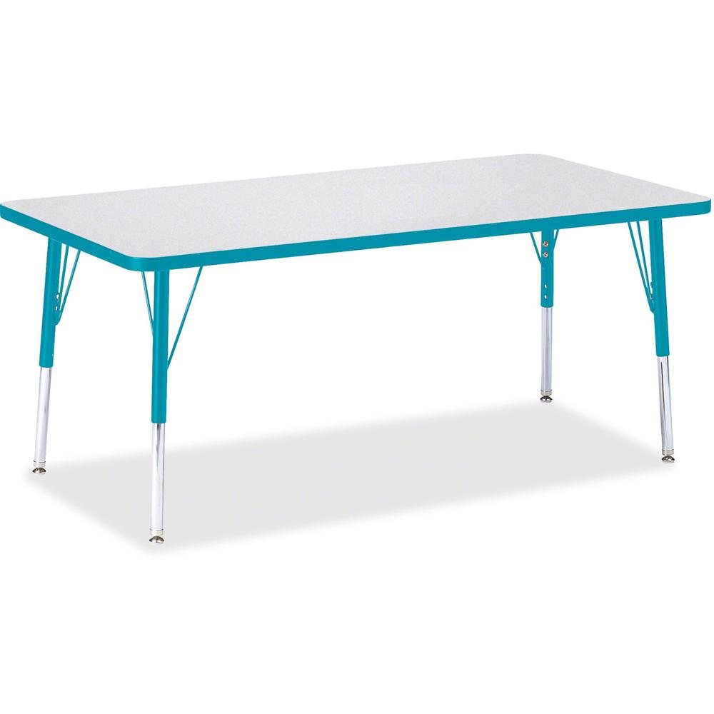 "Berries Elementary Height Color Edge Rectangle Table - Laminated Rectangle, Teal Top - Four Leg Base - 4 Legs - 60"" Table Top Length x 30"" Table Top Width x 1.13"" Table Top Thickness - 24"" Height - As. Picture 1"