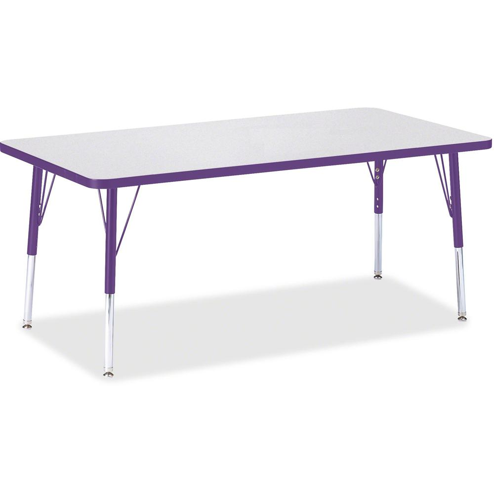"""Berries Elementary Height Color Edge Rectangle Table - Laminated Rectangle, Purple Top - Four Leg Base - 4 Legs - 60"""" Table Top Length x 30"""" Table Top Width x 1.13"""" Table Top Thickness - 24"""" Height - . Picture 1"""