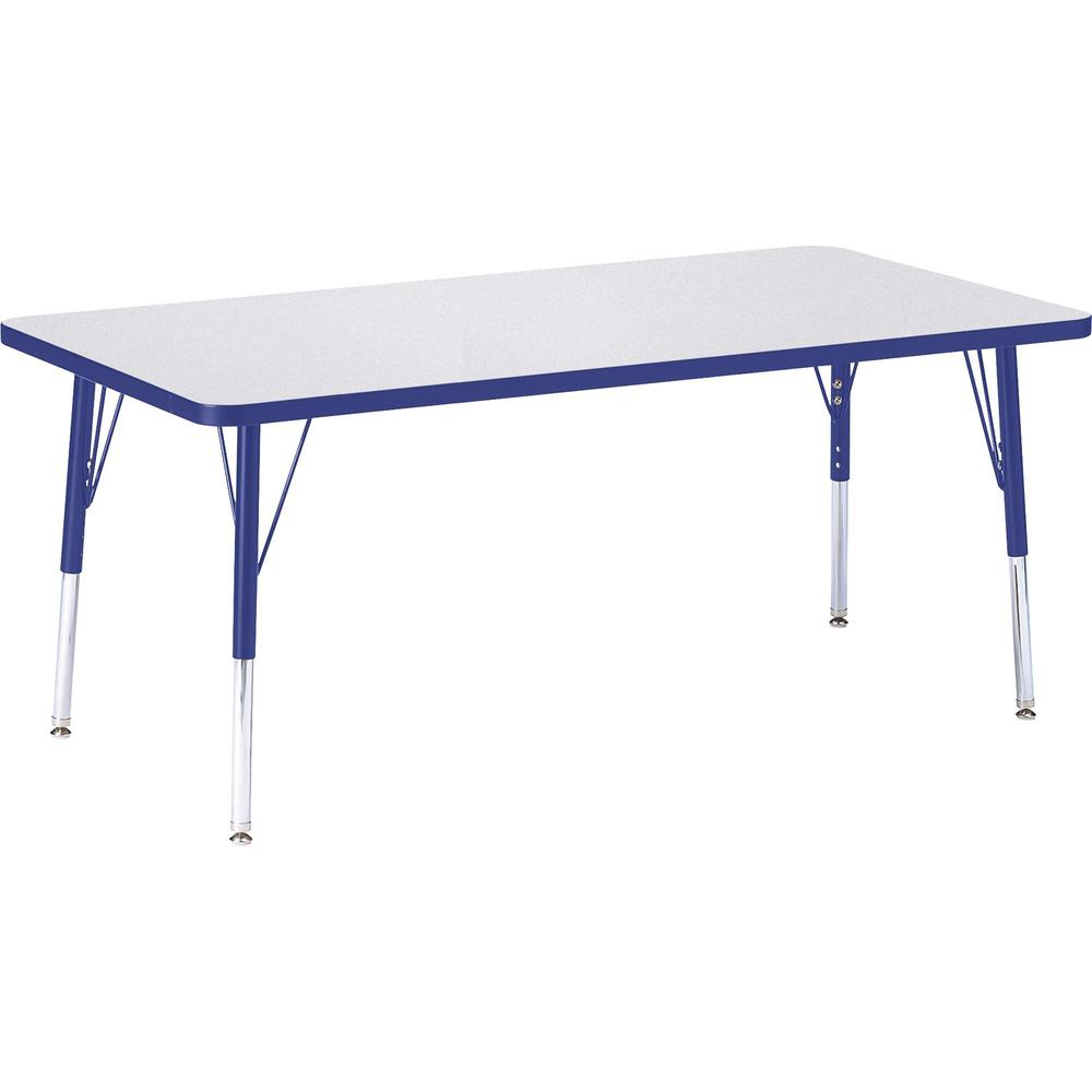 """Berries Elementary Height Color Edge Rectangle Table - Gray Rectangle, Laminated Top - Four Leg Base - 4 Legs - 60"""" Table Top Length x 30"""" Table Top Width x 1.13"""" Table Top Thickness - 24"""" Height - As. Picture 1"""